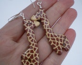 Handpainted Safari Giraffe Earrings (ready to ship)