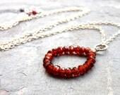 Circle Garnet Necklace Sterling Silver Red Semi Precious Gemstones January Birthstone