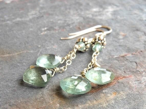 Moss Aquamarine Earrings, Dangling Aquamarine Gemstone Earrings, Sterling Silver