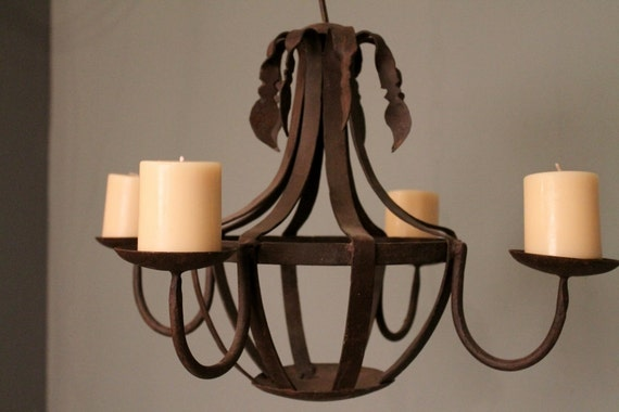Rustic Reclaimed Iron Hanging Candelabra Chandelier Candle