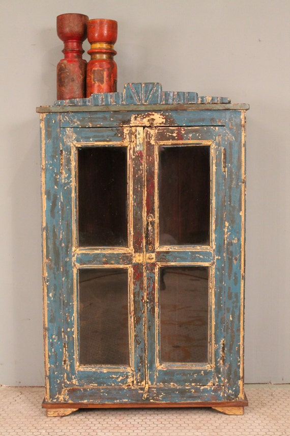 CLEARANCE ITEM Rustic Distressed Painted Wood Indian Glass Storage Cabinet Turquoise Yellow