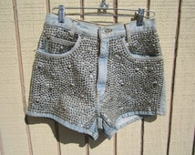 SALE- size 4 or Junior 5 silver front studded Vintage denim High wasted shorts