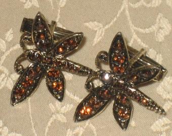 Vintage Ladies Dragonfly Cuff Links