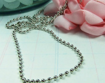 BALL CHAIN 2.5 mm 24 inch Shiny Silver Plate Ball Chain Necklace with connector