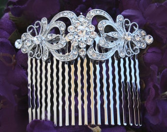 wedding hair comb rhinestone silver hair comb bridal hair comb bridal hair accessories wedding hair accessories bridesmaid hair comb