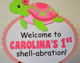 Pink Girl TURTLE First Birthday Party or Baby Shower Decorations - DOOR SIGN- Personalized Name/Age - Door Sign 3-D