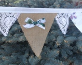BURLAP Lace & Waverly Pleasant Valley Fabric Bunting Garland of Flags