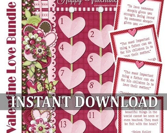 Valentine Countdown & Love Note Quotes BUNDLE -  INSTANT DOWNLOAD Printable