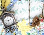 Lovebird Cuckoo Clock - Antiqued Bronze Pocket Watch Pendant Necklace