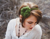 Green Avocado Flower Headband, Crochet Rose Flower, Dark Green Rose Band