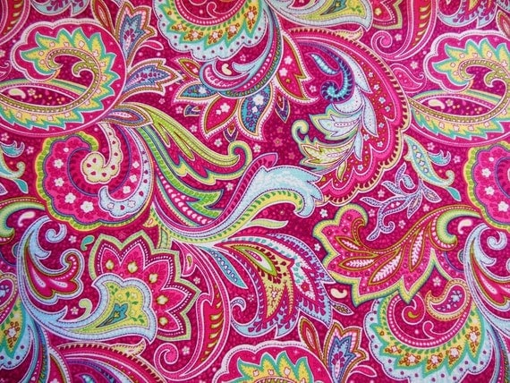 Fat quarter bright pink paisley by bonniessewcrazy on etsy for Bright pink wallpaper uk