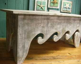Waves Bench Coffee Table Beach House Decor - Assemble Yourself by CastawaysHall