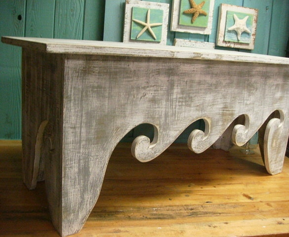 Waves Bench Coffee Table Beach House Decor Assemble Yourself