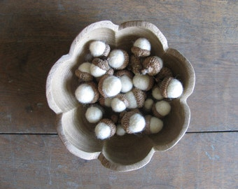 Felted wool acorns, Natural White, wholesale set of 50