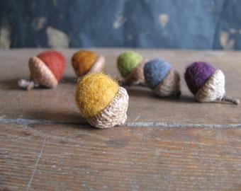 Felted wool acorns, set of 6, Earth Tones Rainbow, rainbow felt acorns, Waldorf color sorting, Montessori color sorting toy, preschool gift