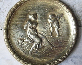 Vintage Plate, Small Round Plaque, Aphrodite and Eros/Venus and Cupid, Solid Heavy Cast Brass, Home Decor, Made in England, 4 5/8""
