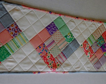 Quilted Table Runner, Table Topper, Feedsack Reproduction, Patchwork, Pastel, Cottage Chic