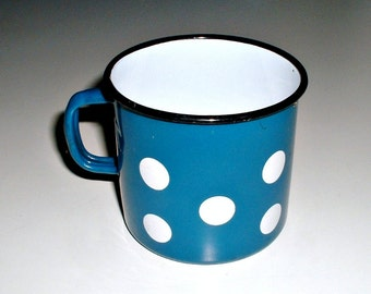 Vintage Enamel Mug Blue with Polka Dots  Enamelware Cup