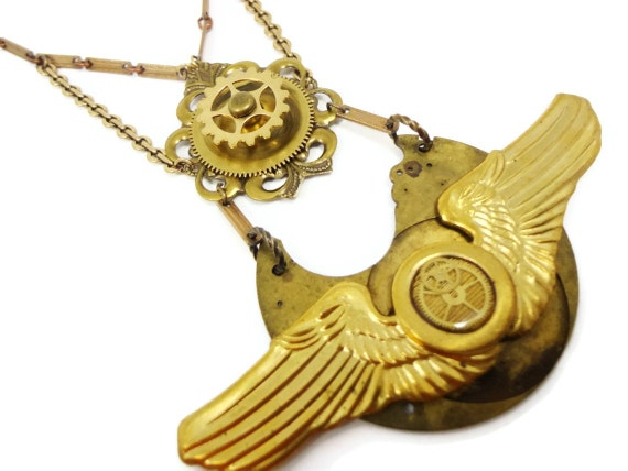 Steampunk Necklace Brass Aeronaut Feathers by Dr Brassy Steamington