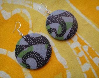 African Pattern Wax Print Fabric Earrings Tie Dye Boho Batik