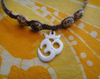 Carved Ohm Om Aum Betel Nut Bead Hemp Necklace