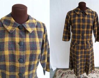Vintage 60s Skirt Suit 2 Piece Dress Plaid Wool Yellow Gray Size M / Medium