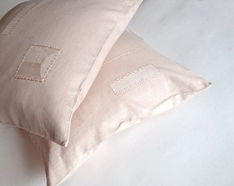 Rose Peach Linen Pillow Cover Embroidered Pillow Case Pink Cushion Cover Decorative Linen Case  Throw Pillow