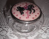 Reserved for KC  Vintage TUDOR vanity jar or powder jar Made in England   Lead Crystal mini cross stitch carousel horse