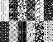 Black and white digital paper floral digital paper Flower craft paper black and white scrapbook paper