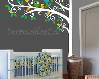 Nursery Wall Decal - Wall Decals Nursery - Tree Decal - Nursery decal - Baby Tree Decal - Tree with Owls decal - Corner Tree Decal