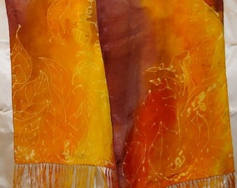 Autumn Leaves Fringed Silk Scarf