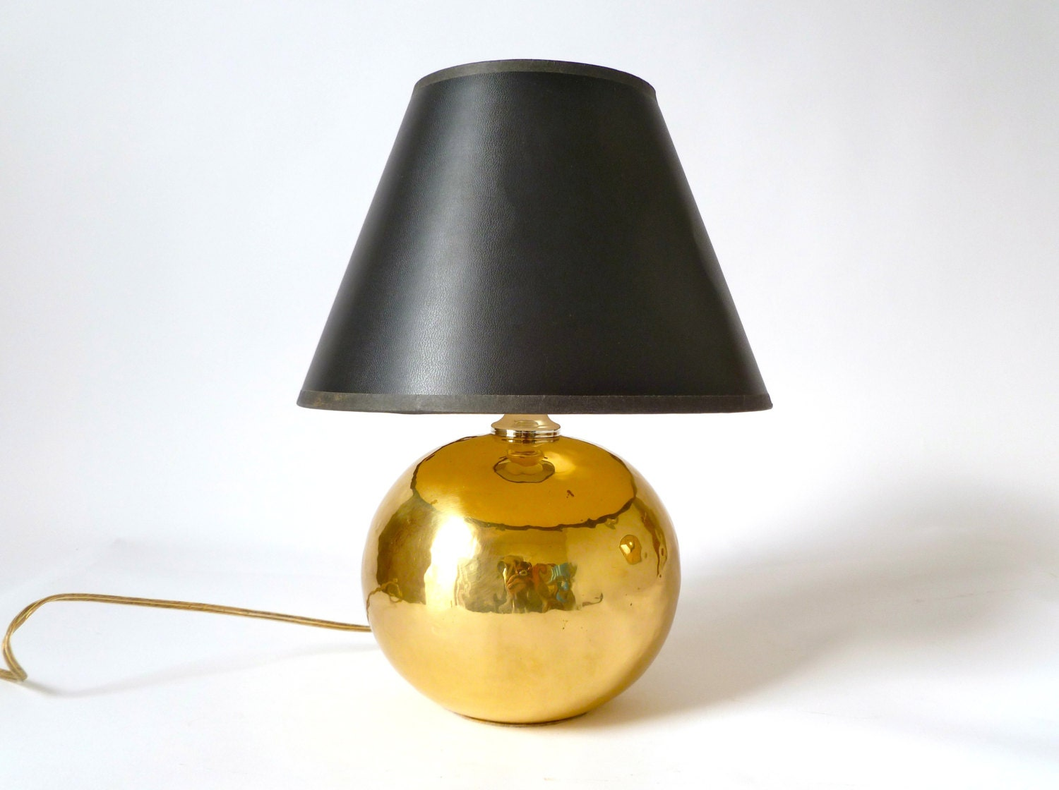 Small Vintage Hammered Brass Table Lamp Orb Hollywood