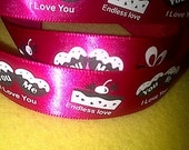 "Love You on Red Satin Ribbon/ 7/8"" (22mm) width /DIY Hair bow / Head Band/Craft Supplies / Wedding Supplies / Bouquet Ribbon"