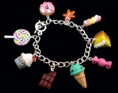 Kawaii Sweets and Desserts Charm Bracelet on silver plated chain