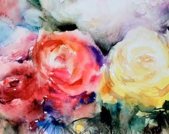 ROSE BOUQUET Floral Watercolor Painting by Dean Crouser
