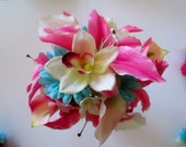 Tropical Bridal Bouquet in Hot Pink, Wedding Floral Package,  Pink Lily and Orchid Bouquet, Destination Wedding Flowers, Beach Wedding