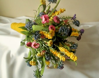 Wildflower Bridal Bouquet with Boutonniere, Wildflower Wedding, Paper Flower Bouquet, Silk Rosemary,  Alternative Bouquet, Wedding Package
