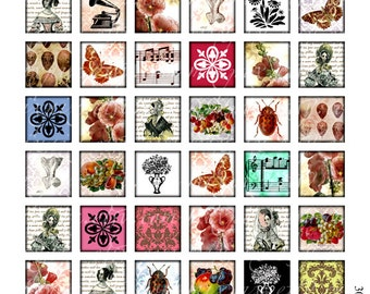 vintage ephemera victorian tiles 1 x 1 inch square images Printable Download Digital Collage Sheet diy jewelry pendant sticker