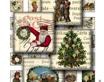 christmas 1 x 1 inch square images Printable Download Digital Collage Sheet diy jewelry pendant sticker xmas santa claus angel new year