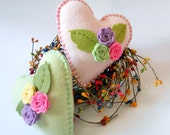 Little Heart Pillows - Heart Pincushions - Pastel Heart and Flowers - Ornies, Tucks -  Country Style Decorations