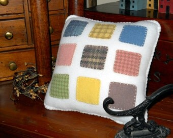 Nine-Patch Quilt Style Pillow - Wool Throw Pillow - Plush Accent Pillow -  Country Folk Art Decor