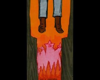 Hung Cowboy woodcut print
