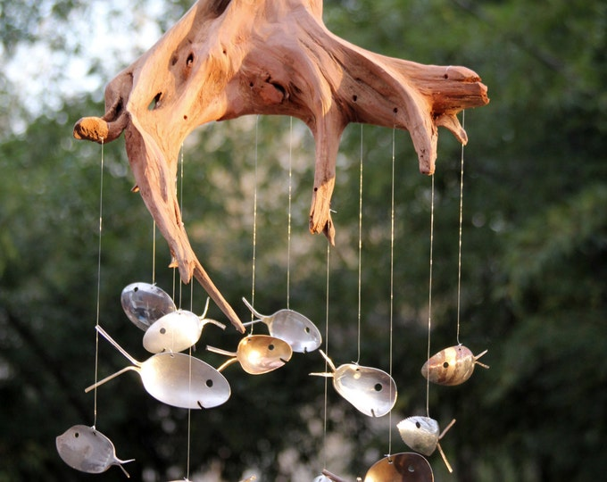 Driftwood Stump / Spoon Fish Windchime, Extra Large Wind Chimes Handmade Wooden Fish Decoration, Drift Wood Fish Masculine Gift Wood Fishing