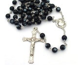 Catholic Rosary Sterling Silver Black Rosary Beads