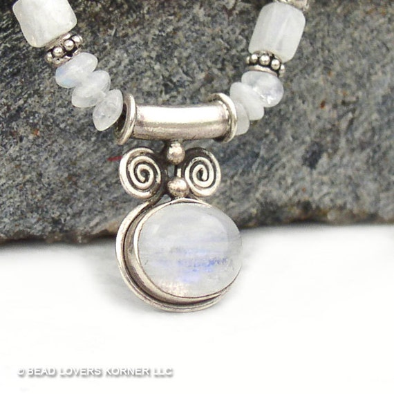 Rainbow Moonstone Necklace Goddess Spiral