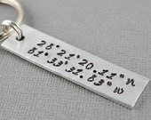 Latitude and Longitude Hand Stamped Keychain by The Copper Fox