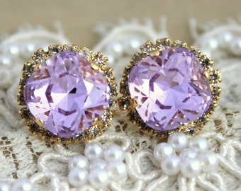 Lavender purple earrings, Lilac Swarovski earrings, Light purple stud earrings, Bridal earrings, Wedding Jewelry, Bridal stud earrings.