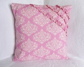 30% OFF!! Pink and Ivory Damask Print Ruffled Detail Pillow Cover 16x16 Girl Nursery Decor Accent Pillow