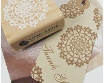 1 Pcs Korea DIY Wood Round Rubber Stamp
