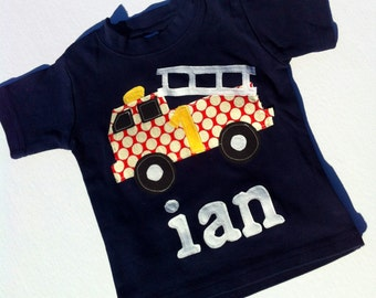 Fire truck Shirt - Boys Birthday Shirt - Firetruck Applique-  You Choose Shirt Color, Sleeve Length or Personalize (Number or Initial)